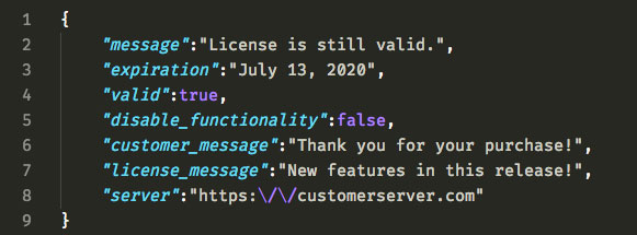 WPLA License Check JSON