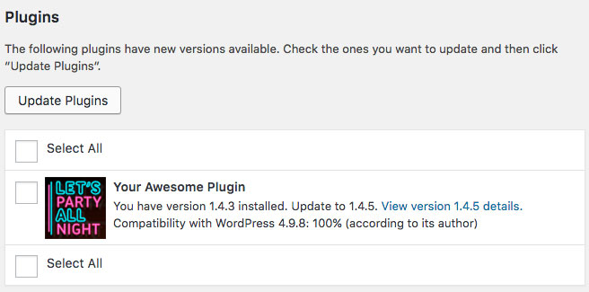 WordPress Updates Available screen